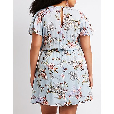 Plus Size Floral Wrap Tie Skater Dress