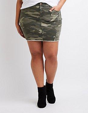 Refuge Camo Denim Mini Skirt