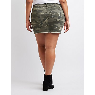 Refuge Camo Denim Mini Skirt