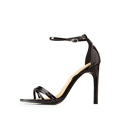 Faux Patent Leather Ankle Strap Dress Sandals
