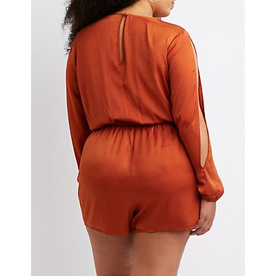 Plus Size Satin Romper