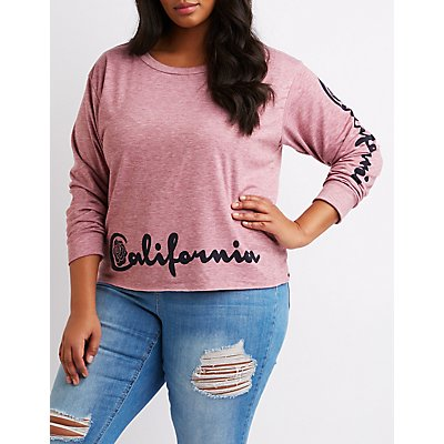 Plus Size California Graphic Cropped Pullover Sweatshirt