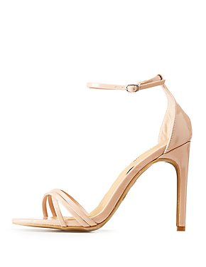Faux Patent Leather Ankle Strap Dress Sandals