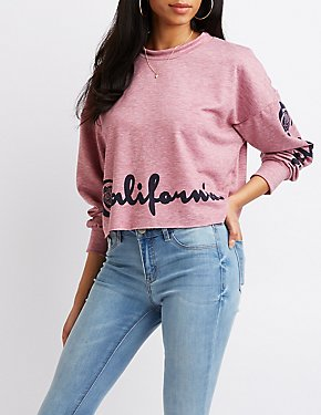 California Graphic Cropped Pullover Sweatshirt