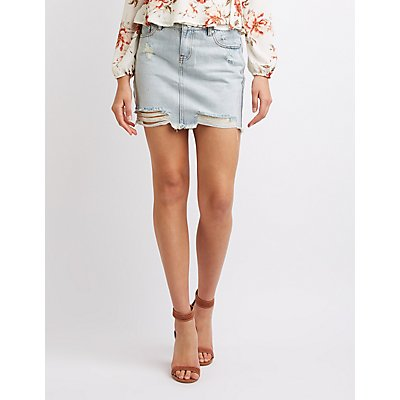 Refuge Destroyed Mini Denim Skirt