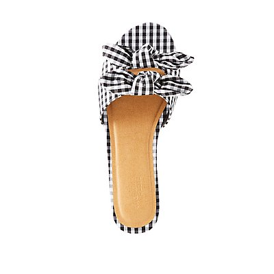 Knotted Gingham Slide Sandals