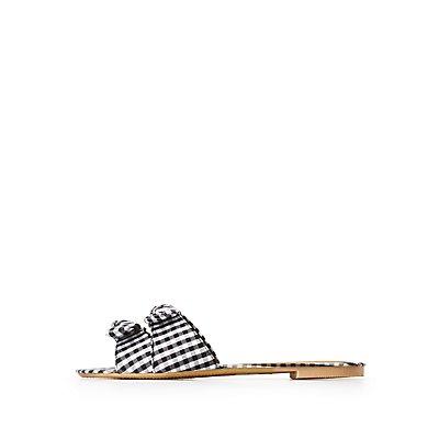Knotted Gingham Slide Sandals