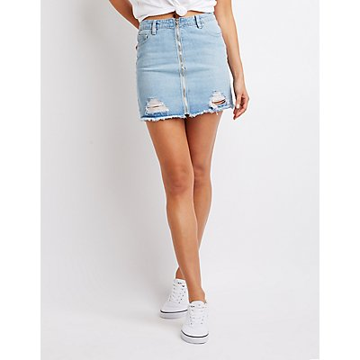 Refuge Zip-Up Destroyed Denim Skirt