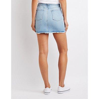 Refuge Zip-Up Destroyed Denim Skirt