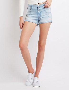 Refuge Hi Waist Shortie Denim Shorts