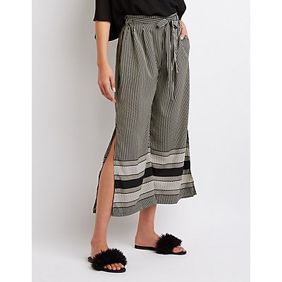 Striped Tie-Front Culotte