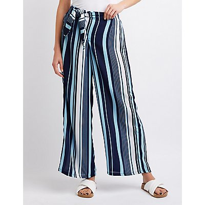 Striped Bow Detailed Palazzo Pants