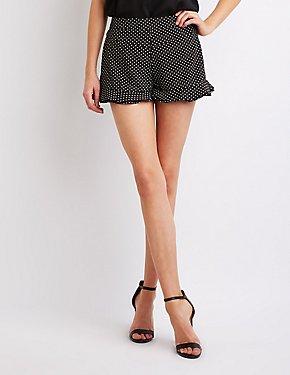 Polka Dot Ruffle-Trim Shorts