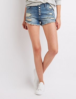 Refuge Destroyed High Waist Denim Shorts