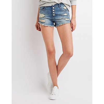 Refuge Destroyed High-Waist Denim Shorts