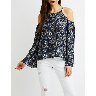 Paisley Cold-Shoulder Top