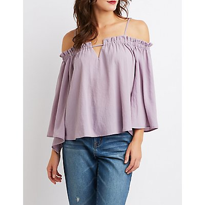 Ruffled-Trimmed Cold-Shoulder Top