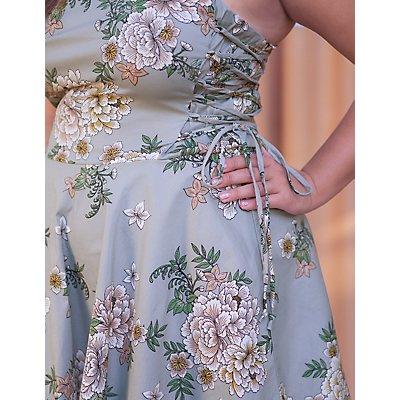 Plus Size Floral Lace-Up Dress