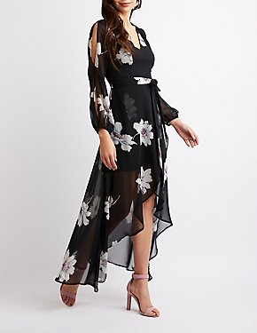 Floral Cut-Out Sleeve Maxi Wrap Dress