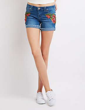 Floral Embroidered Cuffed Denim Shorts