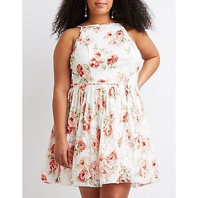 Plus Size Floral Bib Neck Skater Dress