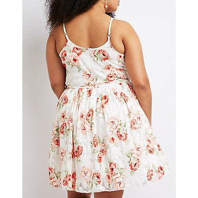 Plus Size Floral Bib Neck Skater Dress