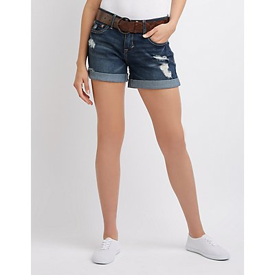 Dollhouse Belted Mid-Rise Cuffed Shorts