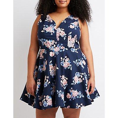 Plus Size Floral Skater Dress