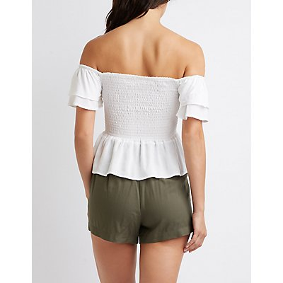 Off-The-Shoulder Lace-Up Peplum Top