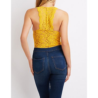 Scalloped Lace Racerback Bodysuit