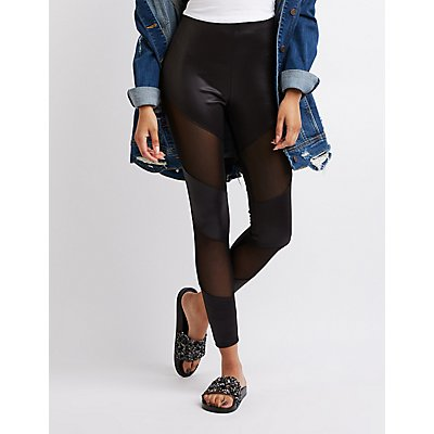 Faux Leather & Mesh Panel Leggings