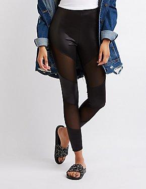 Faux Leather & Mesh Panel Leggings
