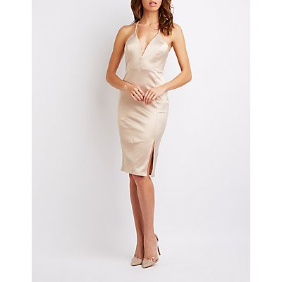 Satin Midi Bodycon Dress