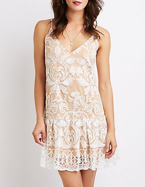 Floral Embroidered Mesh Shift Dress