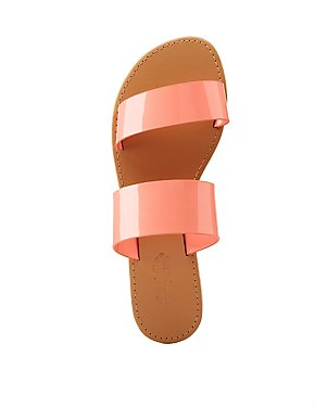 Faux Patent Slide Sandals