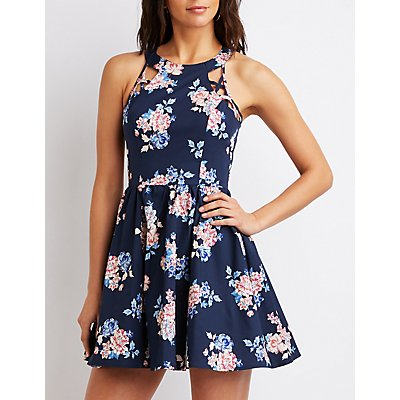 Floral Mock Neck Caged Skater Dress