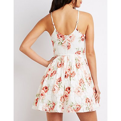 Floral Lace Bib Neck Skater Dress