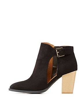 Qupid Faux Suede Buckled Cut-Out Ankle Booties