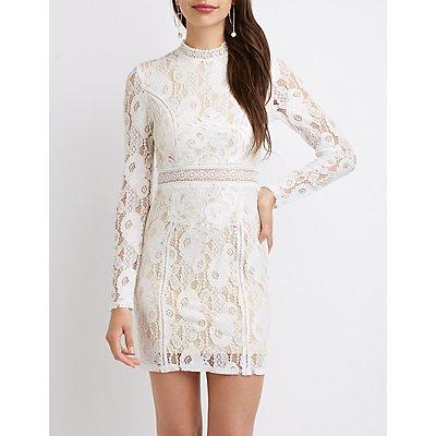 Floral Lace Mock Neck Bodycon Dress
