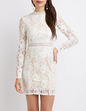 Floral Lace Mock Neck Bodycon Dress