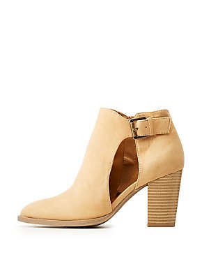 Qupid Cut-Out Buckle Ankle Booties