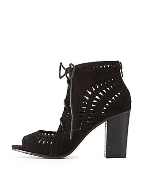 Laser Cut Lace-Up Peep Toe Booties