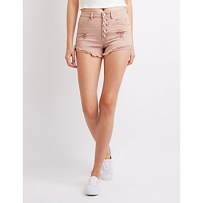 Refuge Destroyed High-Waist Denim Shorts