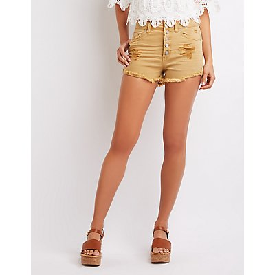 Refuge Destroyed Hi-Rise Cheeky Shorts