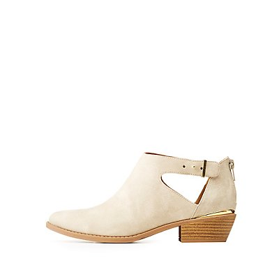 Qupid Cut-Out Metal Trim Booties