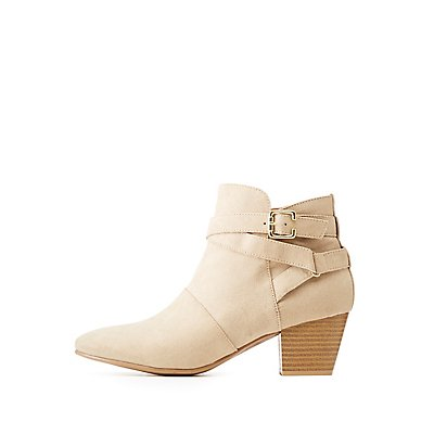 Qupid Faux Suede Buckle Ankle Booties
