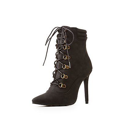 Qupid Pointed Toe Lace-Up Booties