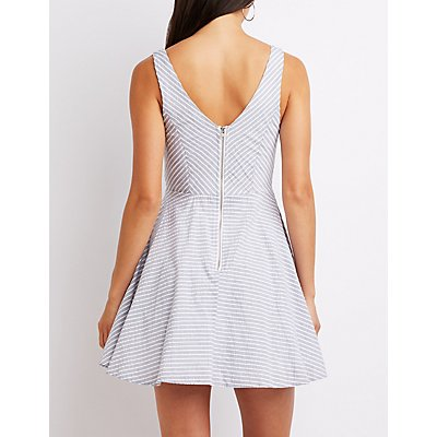 Notched Seersucker Skater Dress