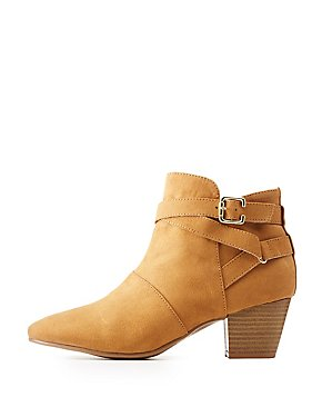 Qupid Suede Belted Ankle Booties