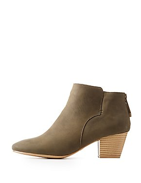 Qupid Faux Nubuck Ankle Booties